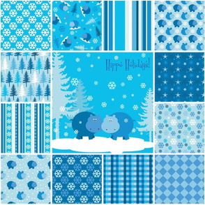 Hippo Holidays in Blue, Quilt Squares