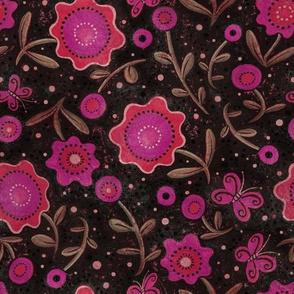 Folk Art Flowers Magenta and Black