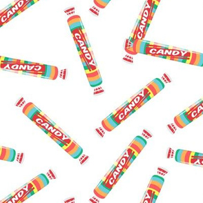 candy rolls -  tablet candy - rainbow toss on white  - LAD19