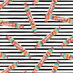 candy rolls -  tablet candy - rainbow toss on black stripes- LAD19