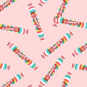 candy rolls -  tablet candy - rainbow toss on pink - LAD19