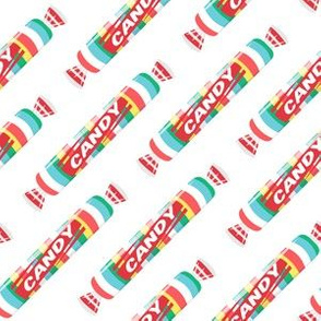 candy rolls -  tablet candy - rainbow on white - LAD19