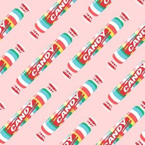 candy rolls -  tablet candy - rainbow on pink - LAD19