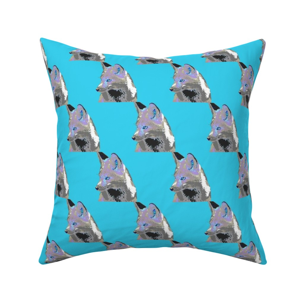Catalan Throw Pillow featuring Artful Fox Lavender Blue Gray on aqua blue by 13moons_design