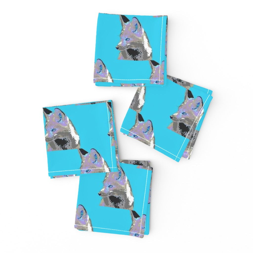 Frizzle Cocktail Napkins featuring Artful Fox Lavender Blue Gray on aqua blue by 13moons_design