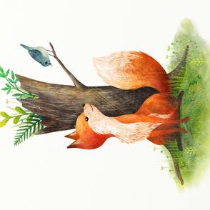 Fox and bird tea towel