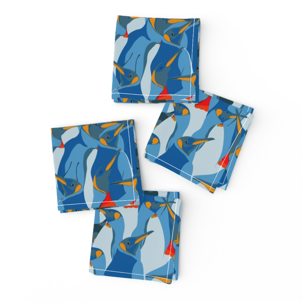 Frizzle Cocktail Napkins featuring Blue penguin crowd by friedlosundstreitsuechtig