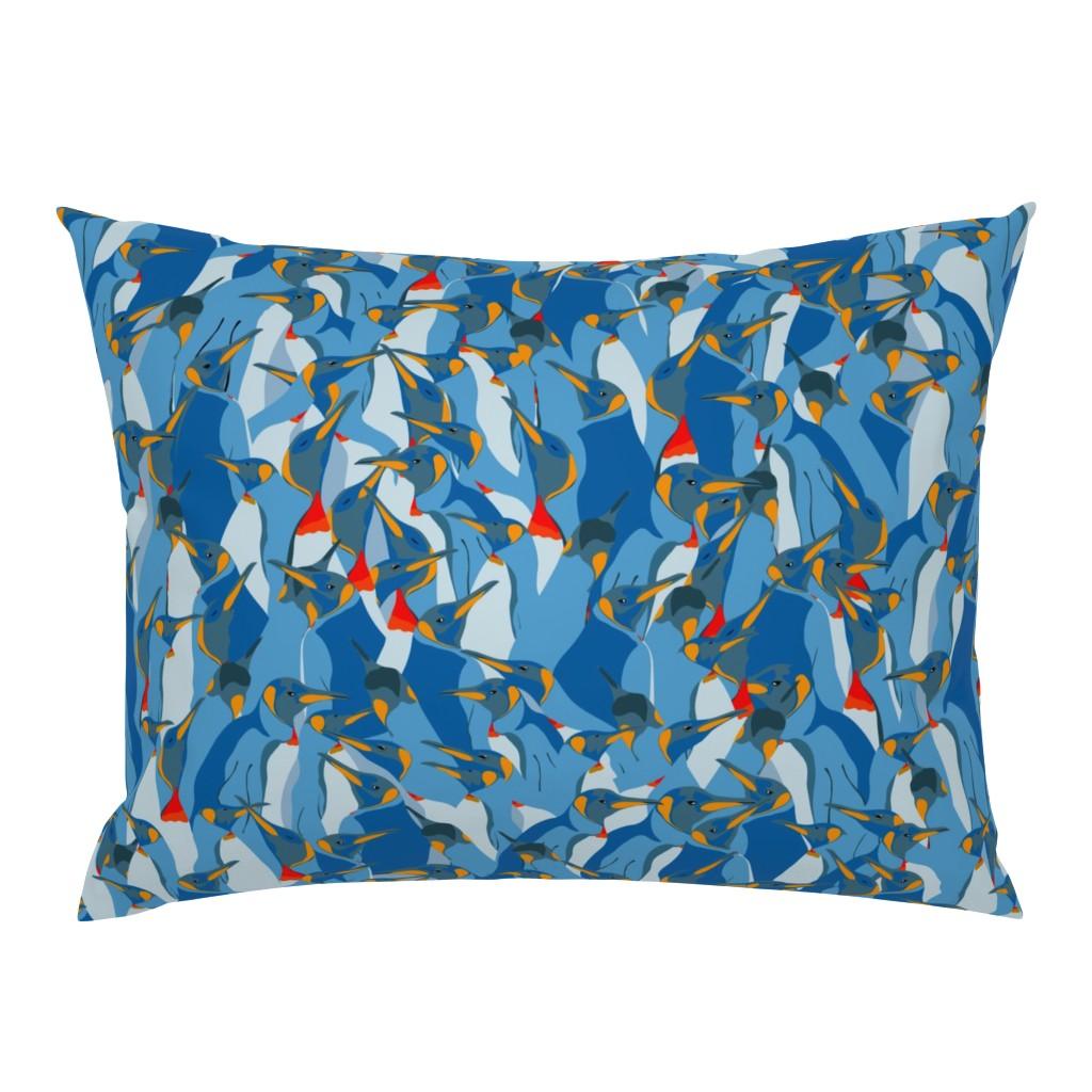 Campine Pillow Sham featuring Blue penguin crowd by friedlosundstreitsuechtig