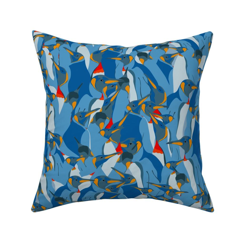 Catalan Throw Pillow featuring Blue penguin crowd by friedlosundstreitsuechtig