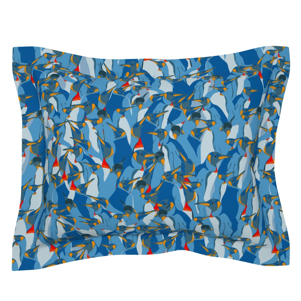 Sebright Pillow Sham featuring Blue penguin crowd by friedlosundstreitsuechtig