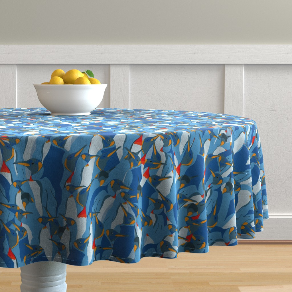 Malay Round Tablecloth featuring Blue penguin crowd by friedlosundstreitsuechtig