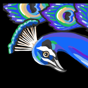 peacock portrait tea towel panel