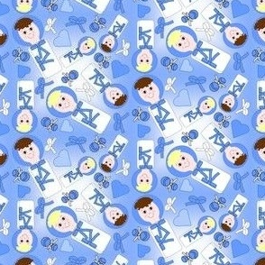 Swaddling Boys and Hearts  Fabric