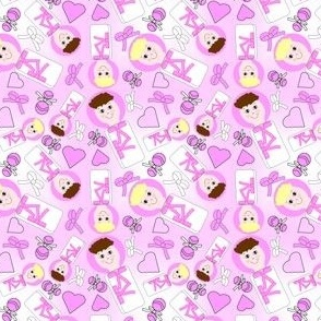 Swaddling Girls and Hearts Fabric