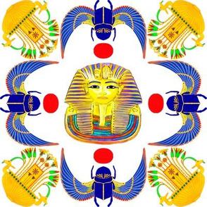 ancient egypt egyptian wings scarab beetles sun flowers floral lotus lily papyrus vases pots king tut Tutankhamun pharaoh red blue royalty plants