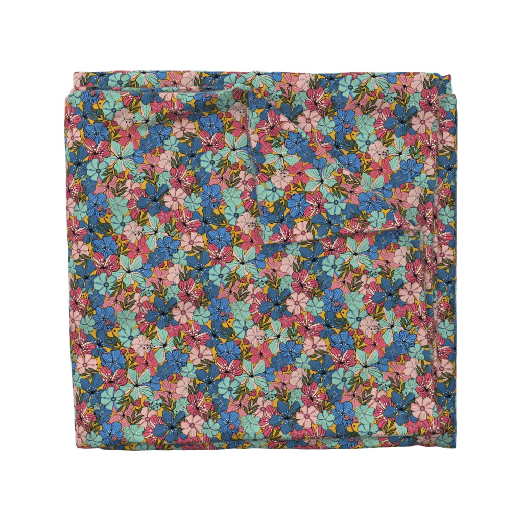 Wyandotte Duvet Cover featuring Flowers by Numbers - blue, yellow, rose by pakanta_handmade