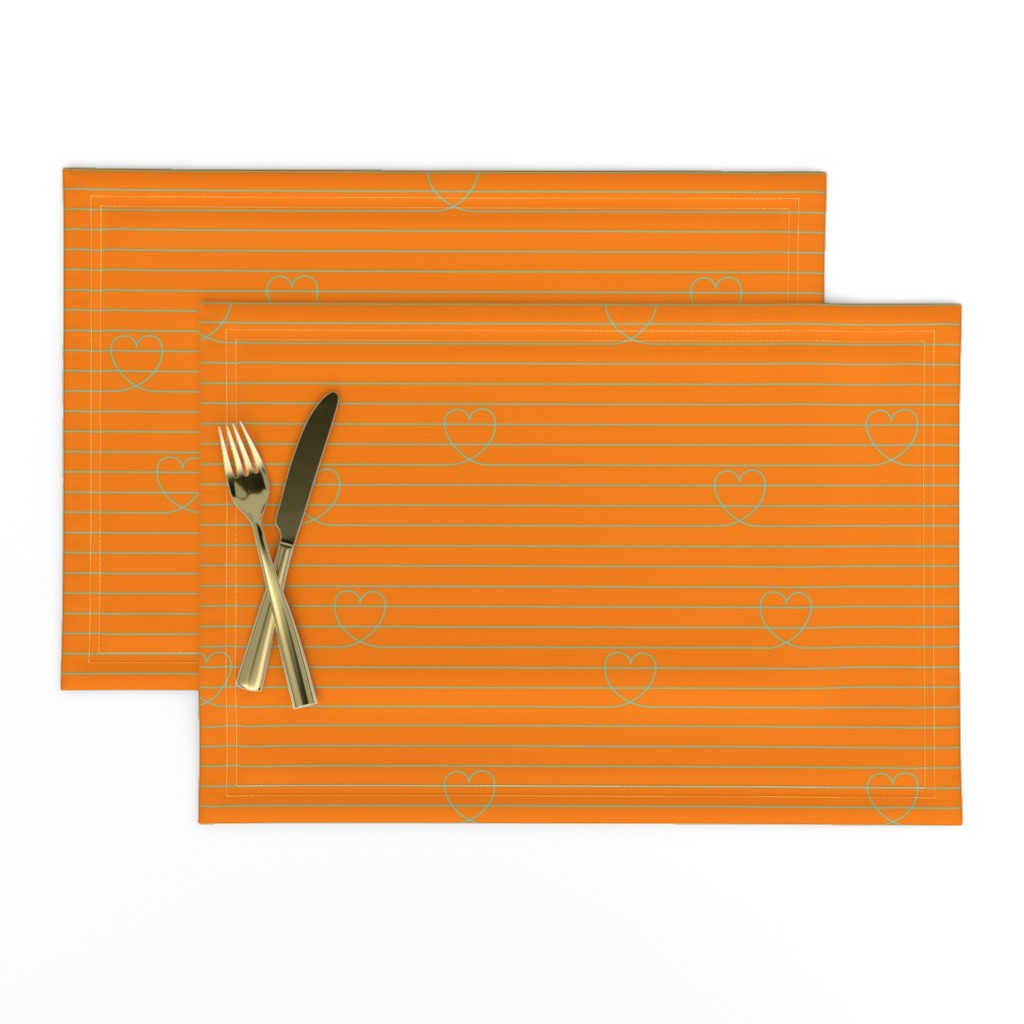 Lamona Cloth Placemats featuring Love Notes {Orange PMS 151} by ceciliamok