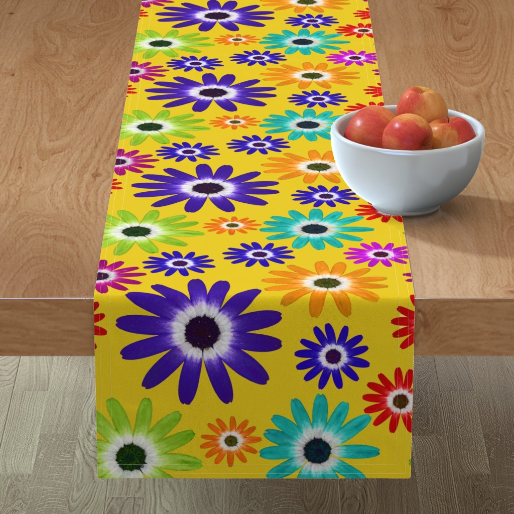 Minorca Table Runner featuring Psychedelic  Daisies  by thephotogardener