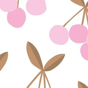 Paper cut summer cherry fruit garden cherries in brown copper pink JUMBO