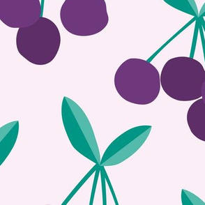 Paper cut summer cherry fruit garden cherries in purple and green mint JUMBO
