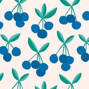 Paper cut summer cherry fruit garden cherries in blue and green mint