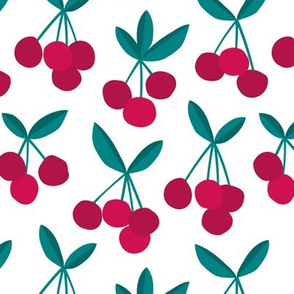 Paper cut summer cherry fruit garden cherries in maroon red green