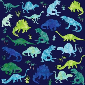 Watercolor Dinosaur Silhouette Blue - Large