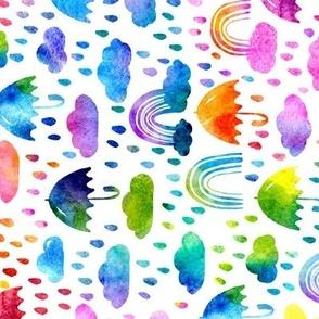 Watercolor Rainbows And Hearts - Large