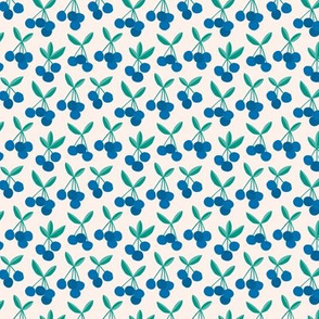 Paper cut summer cherry fruit garden cherries in blue and green mint SMALL