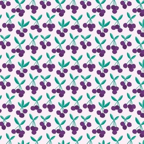 Paper cut summer cherry fruit garden cherries in purple teal green SMALL