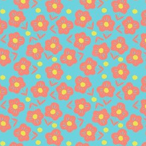 ditsy flowers on sky blue