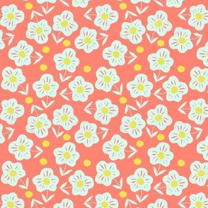 ditsy flowers on coral red