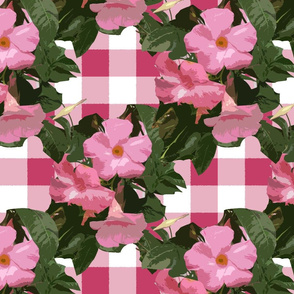 Preppy Pink Flower Trellis On Buffalo Check
