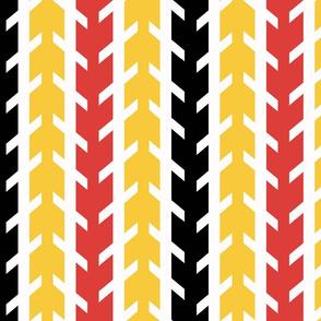 Yellow Orange Black White Arrow Chevron