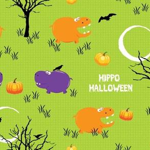 Halloween Hippo with Pumpkin