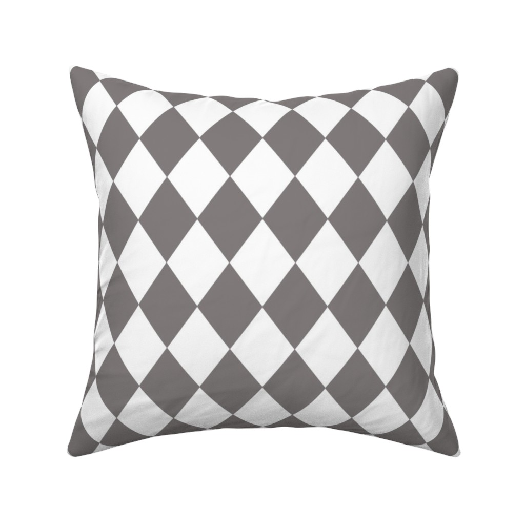 Catalan Throw Pillow featuring Dovecote Grey Small Modern Diamond Pattern on White by paper_and_frill