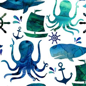 Watercolor Nautical Whale Octopus Ocean - Small
