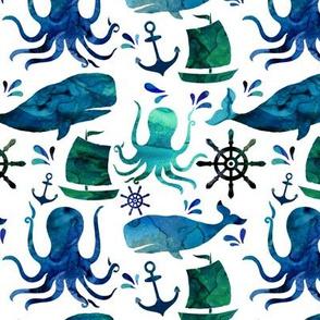 Watercolor Nautical Whale Octopus Ocean - Medium