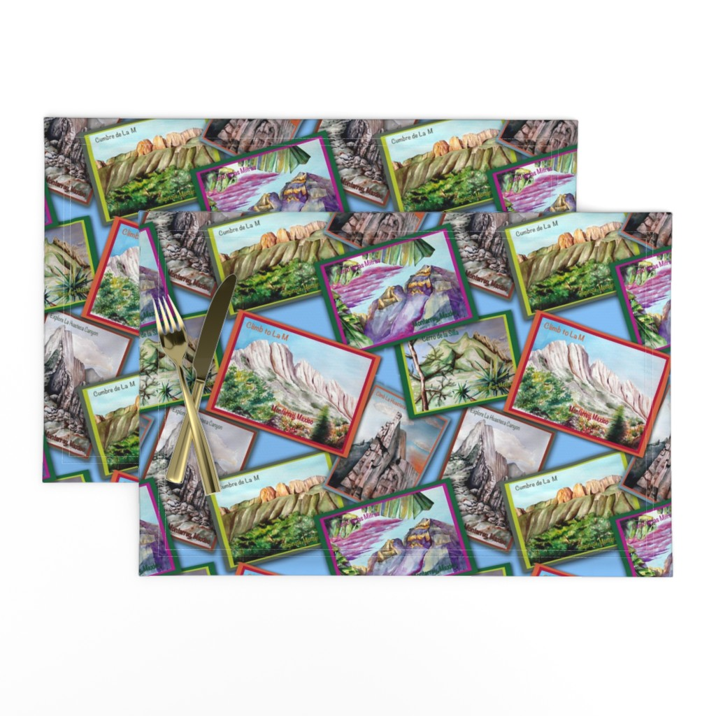 Lamona Cloth Placemats featuring Postcards from Monterrey, Mexico-Mountains in Watercolor by kandyceartstudio