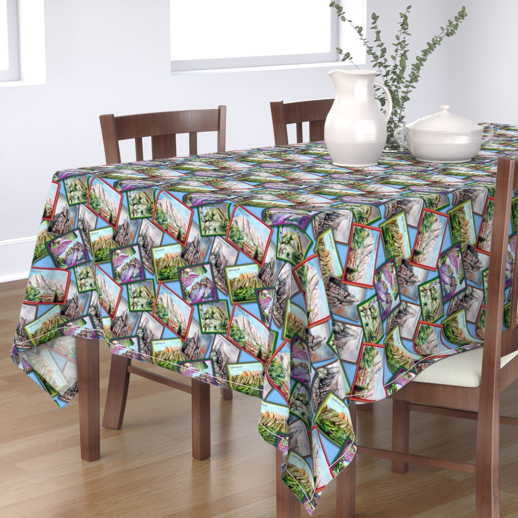 Bantam Rectangular Tablecloth featuring Postcards from Monterrey, Mexico-Mountains in Watercolor by kandyceartstudio