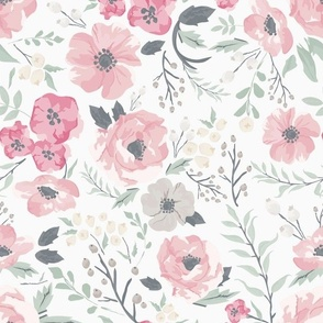 Soft Pink Meadow Floral