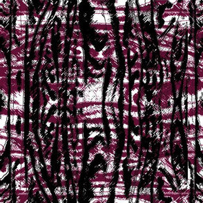Flowing Totem #3 Black & Cranberry  on White