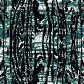 Flowing Totem #3 Black & Teal on White