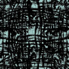 Flowing Totem #3 Black on Aqua