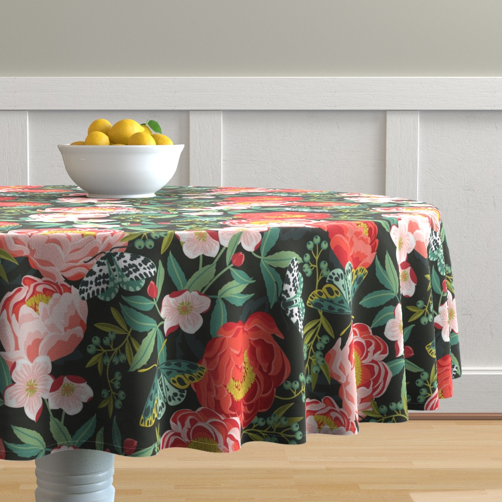 Malay Round Tablecloth featuring plush peonies by cjldesigns