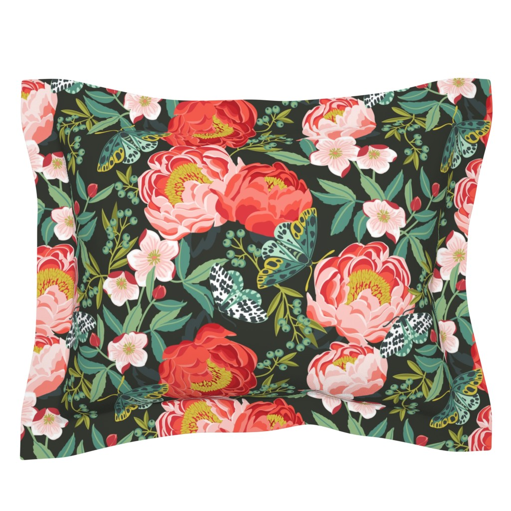 Sebright Pillow Sham featuring plush peonies by cjldesigns