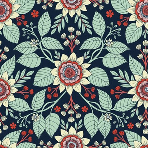 Red, Turquoise, Cream & Navy Blue Floral Pattern