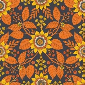 Yellow, Orange, Cream & Steel Blue Floral Pattern