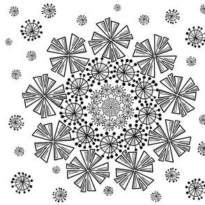 Mid century starburst mandala - black and white