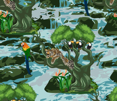 Tropical Rainforest with relaxed Leopard on tree, Macaw and Toucans